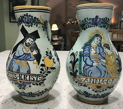 2 baluster form pottery pitchers painted in polychrome enamels Italian/Czech?