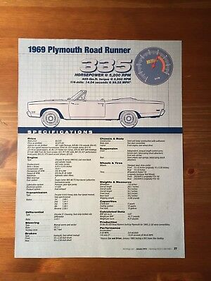 1969 Plymouth Road Runner Specification Sheet Magazine Ad