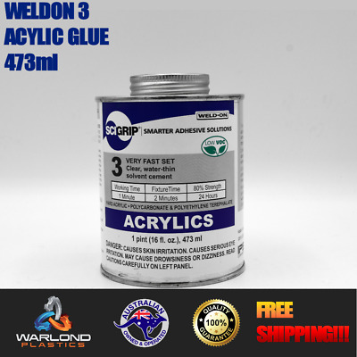 ACRYLIC - PERSPEX - POLYCARBONATE CLEAR GLUE  (WELD-ON 3) 473ml - FREE SHIPPI...