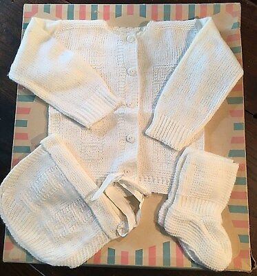 3 pc Vtg 1950s 60s Infant Baby White Sweater Booties Hat Set EUC Reborn Doll