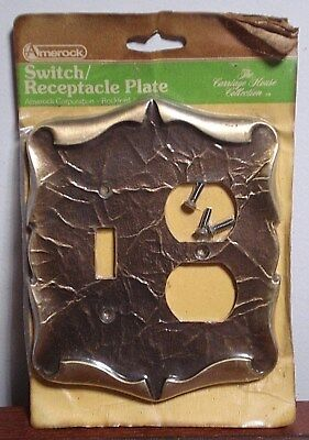 Vintage Amerock Carriage House Brass Double Switch / Plug Plate Cover Art Deco