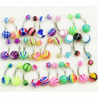 Mixed Ball Navel Barbell Stripes Gift Bar Piercing Jewelry Belly Button Rings