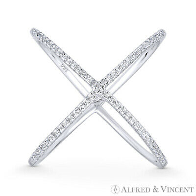 Criss-Cross CZ Crystal Right-Hand X-Ring .925 Sterling Silver w/ Rhodium Plating