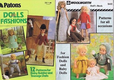 Woolworth 1970s Fashion Barbie Baby Doll Clothes Knitting Pattern Book 25 Design