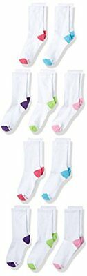 10 prs Hanes Girls' 10-Pack Crew Socks Ankle Socks Assorted Shoe Size 10 1/2-4