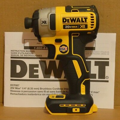 "DEWALT DCF887B 20V MAX Cordless Brushless 1/4"" 3-Speed Impact Driver"