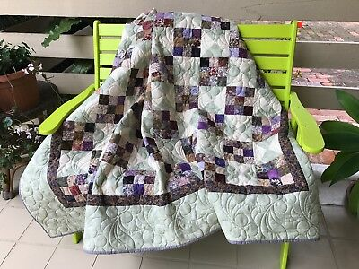 Handmade Patchwork Quilt 100% cotton with wool batting