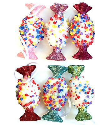 CANDY LAND | 6 Wrapped Candy Christmas Tree Ornament Pink Green Blue Red Glitter