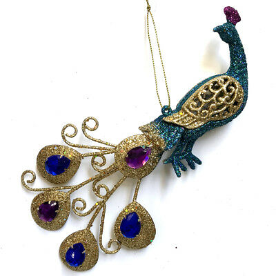 PEACOCK | Gold Tail Purple Teal Blue Jewel Feathers Christmas Tree Ornament Bird