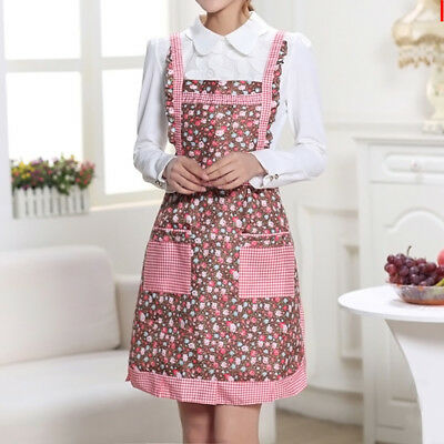 Women Floral Muti-color Anti-oil Cooking Kitchen Restaurant Apron Pocket Dress