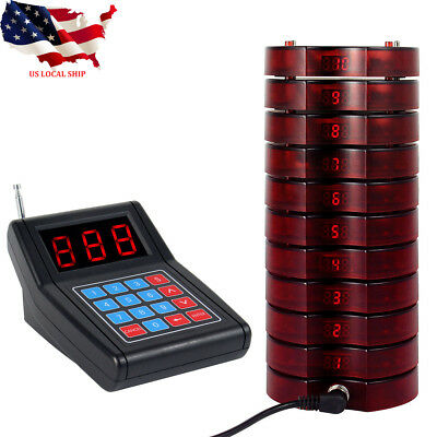 Restaurant Wireless call Paging Queuing System Transmitter+10*Coaster Pagers US