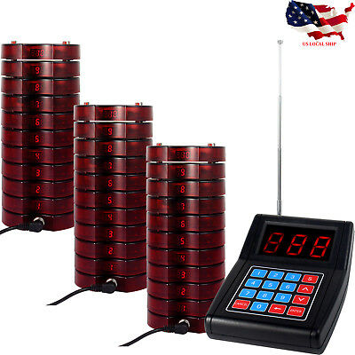 Wireless Paging Queuing Call System 1Transmitter+30*Coaster Pagers Restaurant US
