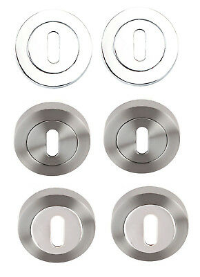 Escutcheons Polished Chrome,Satin or Dual Standard Door Keyhole Slotted Cover x2