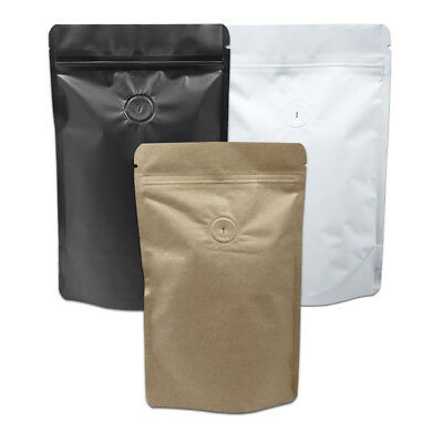 Pure Aluminum Foil Bags with Vent Valve Zip Lock Coffee Storage Moisture Proof
