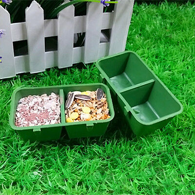 Pet Supplies Plastic Double Trough Bowl With Hook For Parrot Cage Hamster CLLL