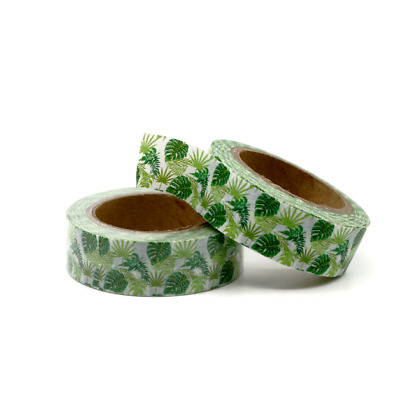 Washi Tape - Tropical Monstera 15mm x 10m Green Floral Fern Palm Design