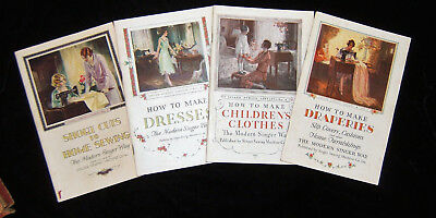 Antique Singer Sewing Library Album ~ Books 1, 2, 3, and 4 ~ Copyright 1929
