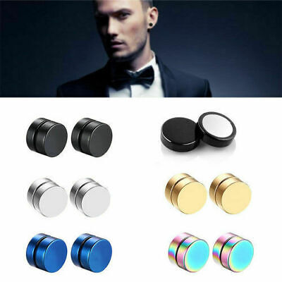 Magnet Circle Round Stud Earring Magnetic Ear Studs No Piercing Men Jewelry 1pc