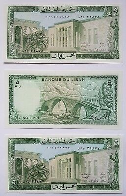 BANK of LEBANON 5 Livre note. 3 consecutive notes in mint condition Unc.