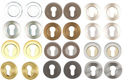 Euro Profile Escutcheons Keyhole Covers Round/Square-Chrome,Satin,Brass or Black