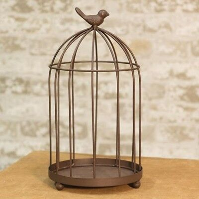 """Rustic French Country Chic Antique Style Bird Cage Candle Holder Dome Cloche 12"""""""