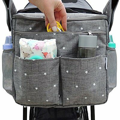 Parents Organizer Bag - Fits All Baby Strollers. Travel W/ Removable Shoulder &