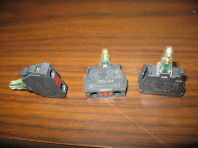 Lot of 3 Telemecanique ZBV-B4 Red 24 VAC Light Modules