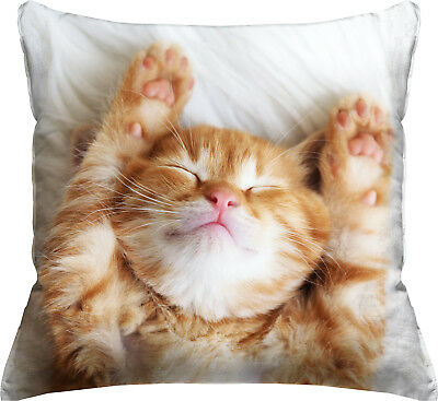 """New Photo Real Orange Tabby Cat Lovers Kitty Throw Pillow 18"""" x 18"""" Gift Present"""