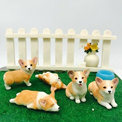 5-Pack Pembroke Welsh Corgi Sculpture Figurine Toy Hand-made and painted Pet ...