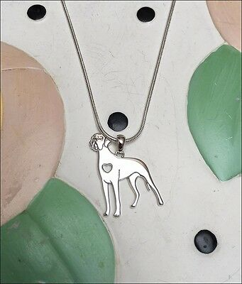 Great Dane Sterling Silver Charm Necklace - New - FREE SHIPPING