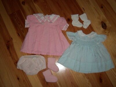 lot VTG Baby Toddler Daddys GIRL DRESS Rubber pants socks Outfit 12 Months #202