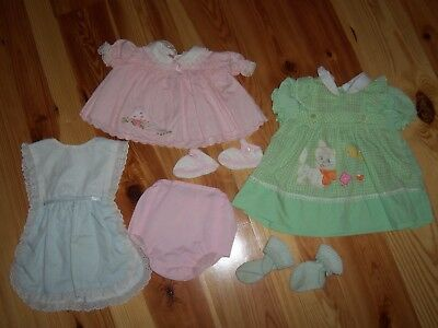 lot VTG Baby Toddler GIRL DRESS Rubber pants Pinafore Outfit 6-12 Months #203