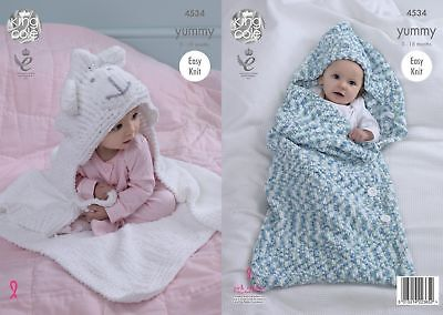 King Cole Knitting Pattern Easy Knit Cocoon Baby Blanket - Yummy 4534