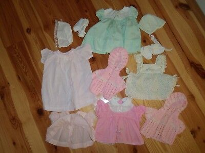 lot VTG Baby Toddler GIRL DRESS sweaters bonnets Pinafore Outfit 0-6 Months #204