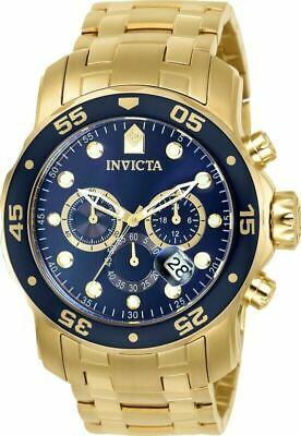 NEW Invicta Men's Watch Pro Diver Chronograph Blue Dial Yellow Gold Bracelet 007