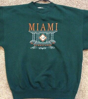 Miami Hurricanes Sweater Mens Large Orange Mcbriar Usa Vintage New