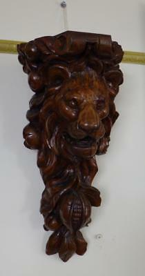 STUNNING! Large Antique Victorian Caved Wooden Lion Corbel Accent Wall Hanger