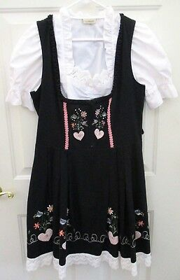 Landhaus Women Size L 12 German Waitress Oktoberfest DRESS Blouse Embroidered