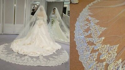 4m 2T Sequins Bling Sparkling Lace Edge Long Cathedral Wedding Veils White Ivory