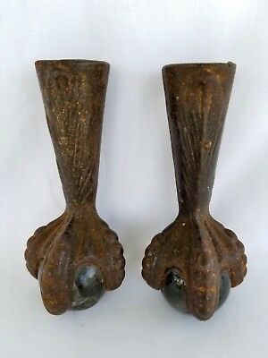 """Pair 3.5"""" Antique Cast Iron Claw Paw Foot Glass Ball Furniture Hardware Feet"""
