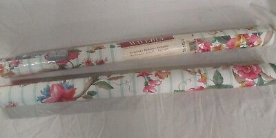 Vintage WAVERLY Wallpaper Floral Two Double Rolls One New One Partial (AD)