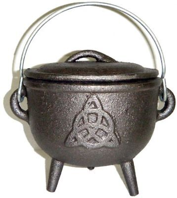 Cast Iron Cauldron with Lid, Triquetra / Charmed Symbol, 4 1/2 inch #RV-10057