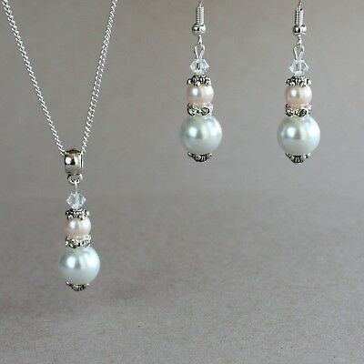 Vintage white oyster pink blush pearl earring necklace silver wedding bridal set