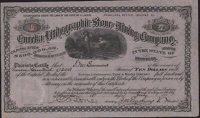 EUREKA LITHOGRAPHIC STONE & MINING CO Stock Certificate 1880 Mines in Missouri