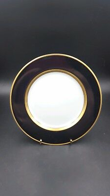 "Fitz and Floyd ""Renaissance"" Salad Plate 7.5 Inch Black White and Gold"