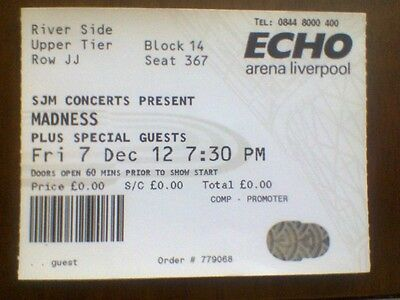 Madness Used Tour Ticket Liverpool 7 - 12 - 2012