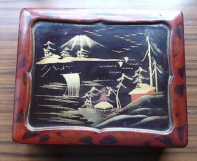 Lovely Vintage Antique Oriental Lacquer Box Japan China Display Storage Collect