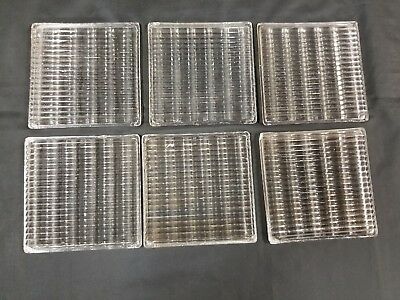 6 Vintage Luxfer Glass Prism Style Window Tiles
