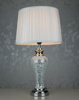 Large Copper Sparkle Mosaic Antique Silver Regency Lamp and Champagne Shade