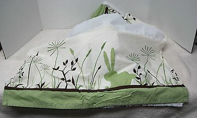 Kids Line Green Collection Bunny & Dragon Fly Baby Cribskirt Dust Ruffle Cotton